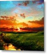 Nature Oil Canvas Landscape Metal Print