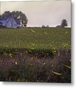 1300 - Fireflies And The House On Hillside Metal Print