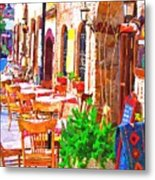 A Digitally Constructed Painting Of Cobbled Back Streets Of Kaleici In Antalya Turkey Metal Print