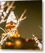 Christmas Lights Holiday Decorations Around Charlotte North Caro Metal Print