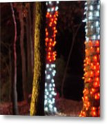 Christmas Season Decorations And Lights At Gardens Metal Print