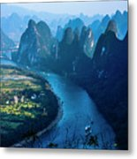 Karst Mountains And Lijiang River Scenery Metal Print