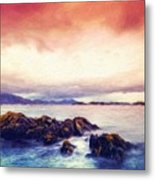 Nature Landscape Oil Painting On Canvas Metal Print