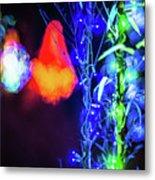 Christmas Season Decorations And Lights At Gardens Metal Print