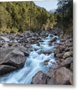 Slow Shutter Photo Of Figarella River At Bonifatu In Corsica Metal Print