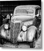 Vintage Autos In Black And White Metal Print
