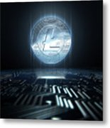 Cryptocurrency And Circuit Board Metal Print