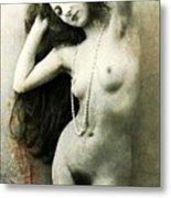 Digital Ode To Vintage Nude By Mb Metal Print