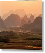 Karst Mountains Scenery In Sunset Metal Print