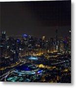 Chicago Night Skyline Aerial Photo Metal Print