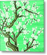White Tree In Blossom, Painting Metal Print