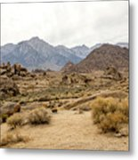 Rocks, Mountains And Sky At Alabama Hills, The Mobius Arch Loop  Metal Print