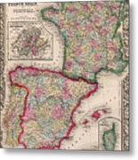 1800s France, Spain And Portugal County Map Color Metal Print