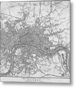 1800s London Map Black And White London England Metal Print