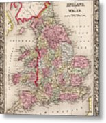1800s Wales County Map Wales England Color Metal Print