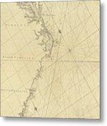 1807 North America Coastline Map Metal Print