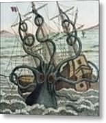 1815 Collosal Polypus Octopus And Ship Metal Print by Paul D Stewart