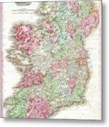 1818 Pinkerton Map Of Ireland Metal Print