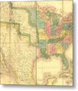 1839 Map Showing Us-mexican Boundary Metal Print by Everett