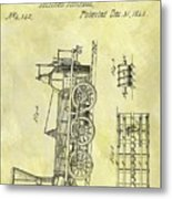 1845 Locomotive Patent Metal Print
