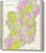1850 Vintage Map Of Ireland Metal Print