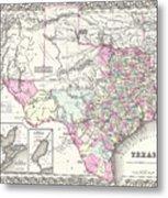 1855 Texas Map Metal Print