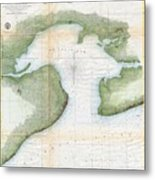 1857  Coast Survey Map Of St. Louis Bay And Shieldsboro Harbor, Mississippi  Metal Print