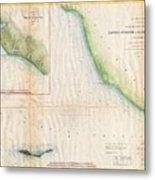 1857  Coast Survey Map Of The Eastern Entrance To Santa Barbara Channel Metal Print