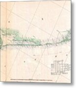 1857 U.s. Coast Survey Triangulation Map Of Matagorda Bay To Galveston Bay, Texas Metal Print