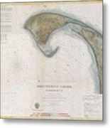 1857 U.s.c.s. Map Of Provincetown Harbor, Cape Cod, Massachusetts Metal Print