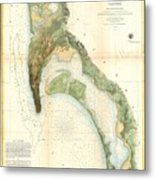 1857 U.s.c.s. Map Of San Diego Bay, California Metal Print