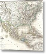 1858 Dufour Map Of The United States  Metal Print