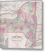 1858 Smith - Disturnell Pocket Map Of New York Metal Print