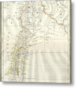 1859 Alabern Map Of Israel, Palestine, Or Holy Land And Syria In Ancient Times Metal Print