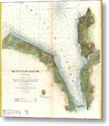 1859 U.s. Coast Survey Chart Or Map Of Hempstead Harbor, Long Island, New York  Metal Print