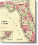 1864 Florida Map Color Metal Print