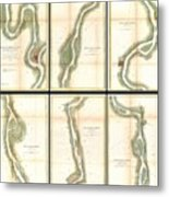 1865 Us Coast Survey Map Of The Mississippi River From Cairo Il To St Marys Mo  Metal Print