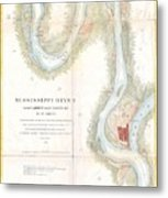 1865 Uscs Map Of The Mississippi River From Cairo Illinois To St Marys Missouri  Metal Print