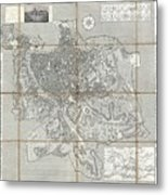 1866 Fornari Pocket Map Or Case Map Of Rome Italy Metal Print