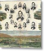 1866 Harpers Weekly View Of Salt Lake City Utah W Brigham Young Mormons Metal Print