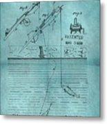 1868 Fishing Tackle Patent Blue Metal Print