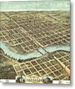 1869 Map Of Kankakee Metal Print