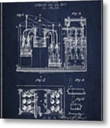 1877 Bottling Machine Patent - Navy Blue Metal Print