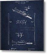 1885 Tuning Fork Patent - Navy Blue Metal Print