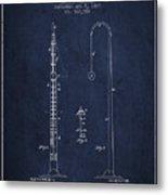 1887 Metronome Patent - Navy Blue Metal Print