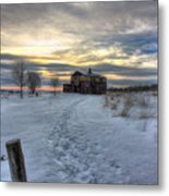 1888 Barn In Winter 01 Metal Print