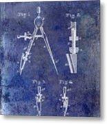 1888 Draftsmans Compass Patent Blue Metal Print