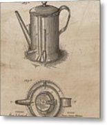 1889 Coffee Pot Patent Illustration Metal Print