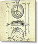 1889 Stop Watch Patent Art S. 1 Metal Print