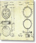 1889 Stop Watch Patent Art Sheets 1-2 Metal Print